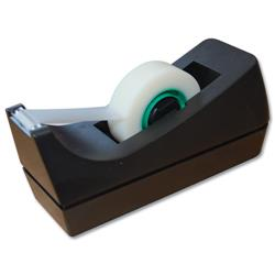 5 Star Office Tape Dispenser Desktop Roll Capacity 19mm Width 33m Length Black