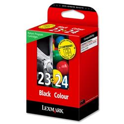 Lexmark No. 23 and No. 24 Inkjet Cartridge Page Life 215/185pp Black/Colour Ref 18C1419E - Pack 2