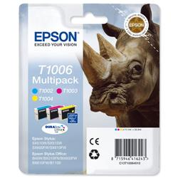 Epson T1006 Inkjet Cartridge DURABrite Ultra Rhino Cyan/Magenta/Yellow Ref C13T10064010 - Pack 3