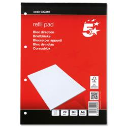 5 Star Office Refill Pad FSC Feint Headbound Ruled with Margin 70gsm 4-Hole Punched 80 Sheet A4 [Pack 10]