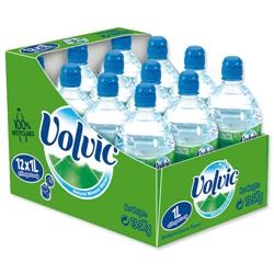 Volvic Go Natural Mineral Water Bottle Plastic with Sports Cap 1 Litre Ref EX-2-100 02205 - Pack 12