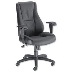 Trexus Hampshire Leather Manager Armchair Adjustable Arms Back H660mm W520xD510xH470-550mm Black