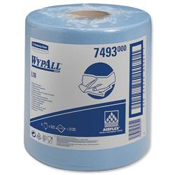 WYPALL L10 Wipers Centrefeed Airflex 500 Sheets per Roll 205x380mm Blue Ref 7126/7493 - Pack 6