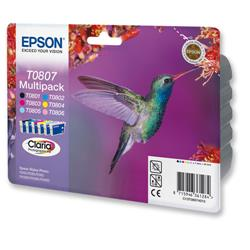 Epson T0807 Inkjet Cartridge Claria Hummingbird 6 Colours Ref C13T08074010 - Pack 6