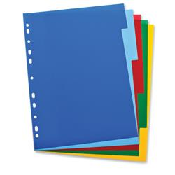 Elba Polypropylene Dividers Europunched A4 5 Part Multicoloured Ref 100205075
