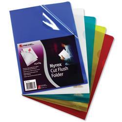 Rexel Nyrex Folder Cut Flush A4 Yellow Ref 12161YE [Pack 25]