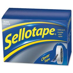Sellotape Clever Tape Roll Write-on Copier-friendly Tearable 18mmx25m Matt Ref 1444600 - Pack 8