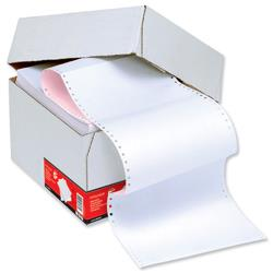 5 Star Office Listing Paper 2-Part NCR Perforated 56/57gsm 11inchx241mm Plain White/Pink [1000 Sheets]
