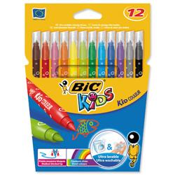 BIC KIDS Couleur Felt Tip Pens Ultra-washable Water-based Medium Tip Assorted Ref 841798 - Pack 12