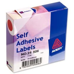 Avery 24-506 Label Dispenser 19mm diameter Red Ref 24-506 - 1120 Labels