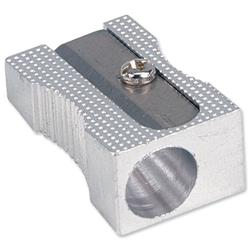 5 Star Office Pencil Sharpener Pocket-sized Metal for Max. Diameter 8mm Single Hole [Pack 5]
