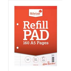 Silvine Refill Pad Headbound Perforated Punched Feint Ruled Margin 160pp 75gsm A5 Ref A5RPFM - Pack 6