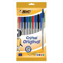 Bic Cristal Ball Pen Clear Barrel 1.0mm Tip 0.4mm Line Assorted Ref 830865 [Pack 10]