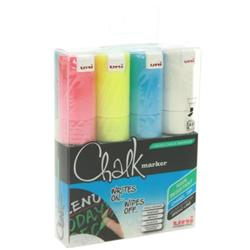 uni Chalk Marker Broad Chisel Tip PWE-8K Line Width 8mm Assorted Ref 153528140 [Wallet 4]
