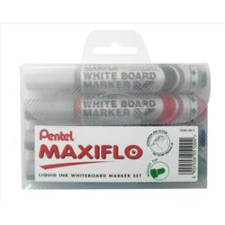 Pentel Maxiflo Drywipe Marker Bullet Tip 2.5mm Line Assorted Ref YMWL5M-4 [Pack 4]