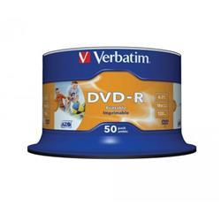 Verbatim 50PK Inkjet 4.7GB 16X DVD-R SP Ref 43533