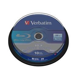 Verbatim BD-R Blu Ray Recordable Disk Spindle 6x Speed 25Gb Ref 43742 [Pack 10]