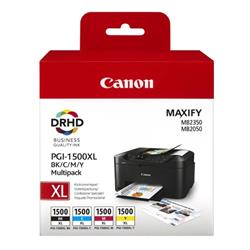Canon PGI-1500XL Inkjet Cartridge Cyan/Magenta/Yellow/Black Multipack Ref 9182B004AA [Pack 4]