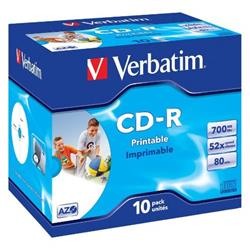 Verbatim 10PK 43325 80MIN 52X IP CD-R JC Ref 43325