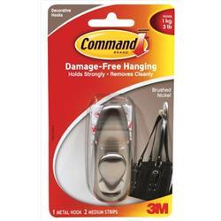 Command Adhesive Single Metal Hook Medium Nickel Ref FC12-BN