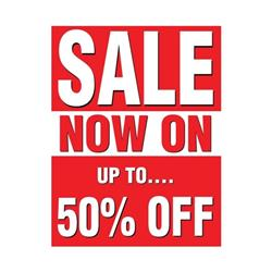 Sales Poster with 50 Percent Off Text A1 Red and White