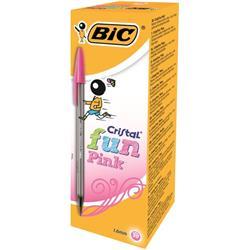 Bic Cristal Fun Ballpen 1.6mm Tip 0.6mm Line Pink Ref 929056 (Pack 20)