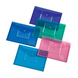 5 Star Office Envelope Stud Wallet CD Filing Pocket Polypropylene A4 Assorted [Pack 5]