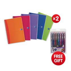 Oxford Office Notebook Twin Wirebound 180pp A5 Random Bright Colour Ref 100104780 [Pack 5] - x2 & FREE Pack of Uni-ball Eye Designer Assorted Ref UB157D
