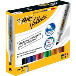 Bic Velleda 1781 Acrylic Chisel Tip Whiteboard Marker 3.2-5.5mm Width Assorted Ref 875788 [Wallet 6]
