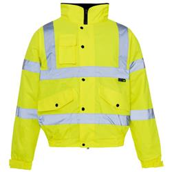 Supertouch High Visibility Standard Jacket Storm Bomber with Warm Padded Lining Large Yellow Ref 36843