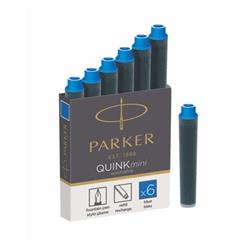 Parker Quink Cartridges Ink Refills Mini Blue Ink Ref 1950409 [Packed 30x6]