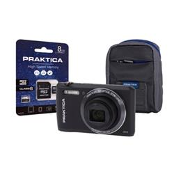 Praktica Z212 Digital Camera Kit Wide 12x Optical Zoom Lens 20MP Black Ref Z212-BK 8GBCASE