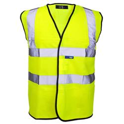 Supertouch High Visibility Vest with Velcro and Black Binding XXXXLarge Yellow Ref 35247
