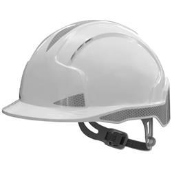 JSP EVOLite CR2 Safety Helmet ABS 6-point Harness Reflective Strips EN397 White Ref AJB160-400-100
