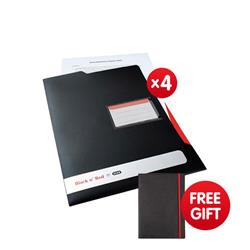 Black n Red by Elba L Folder Polypropylene Ref 400051533 [Pack 5] - x4 & FREE Black By Black n Red Business Journal Book