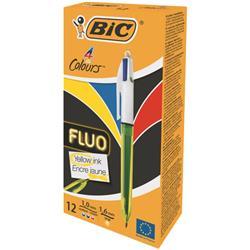 Bic 4 Colour Fluo Retractable Ballpoint Pen Black Blue Red and Yellow ink Ref 933948 [Pack 12]