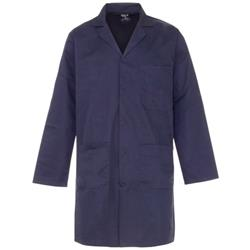 Supertouch Lab Coat Polycotton with 3 Pockets Large Navy Ref 57013