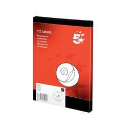 5 Star Office CD Labels Inkjet and Laser Printable 2 per Sheet 117mm Diameter White [Pack 200]