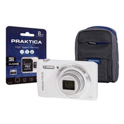 Praktica Z212 Digital Camera Kit Wide 12x Optical Zoom Lens 20MP White Ref Z212-W 8GBCASE