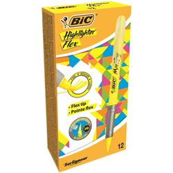 Bic Grip Pen-shaped Highlighter Yellow Ref 942040 [Pack 12]