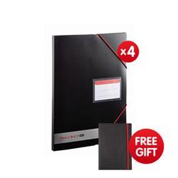 Black n Red by Elba Display Book Polypropylene Opaque Ref 400050725 - x4 & FREE Black By Black n Red Business Journal Book