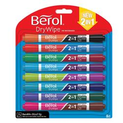 Berol Dual Ended 2 in 1 Drywipe Whiteboard Marker Assorted Ref 1984584 [Pack 8]