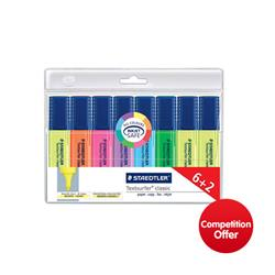 Staedtler Textsurfer Classic Highlighter Line Width 1-5mm Assorted Ref 364AWP8 [Pack 6 + 2 FREE] - Chance to Win a FREE Family Activity Holiday