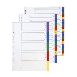5 Star Elite File Dividers Multicoloured Tabs Polypropylene 5-Part Extra Wide A4 White