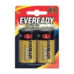 Eveready Gold Alkaline Batteries D/LR20 Ref E0122106 [Pack 2]