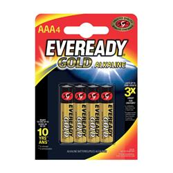 Eveready Gold Alkaline Batteries AAA/LR03 Ref 636034 [Pack 4]