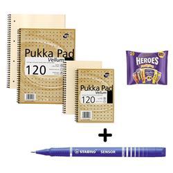 Pukka Pad Vellum Notebook A4 [Pack 3] & Stabilo Fineliner Pen Blue [Pack 10] - Bundle Offer + FREE Cadbury Heroes Bag 278g