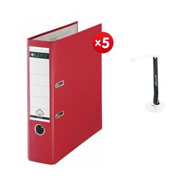 Leitz Lever Arch File Plastic 80mm Spine A4 Red Ref 10101025 [Pack 10] - x5 + FREE Rexel Activita Strip+ Day Lamp