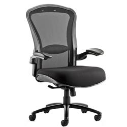 Houston Task Operator Chair Mesh Back Black Fabric Seat With Arms Ref OP000181