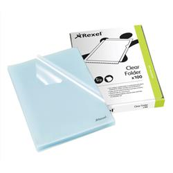 Rexel Cut Flush Folder Polypropylene Copy-secure Embossed Finish A4 Clear Ref 12215 [Pack 100] - 2 for 1